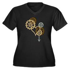 Steampunk Love Women's Plus Size V-Neck Dark T-Shi