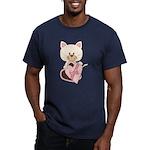 Sweetheart Cat Men's Fitted T-Shirt (dark)
