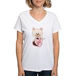 Sweetheart Cat Women's V-Neck T-Shirt