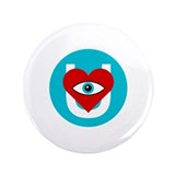 "eye heart U white blue O 3.5"" Button (100 pack)"