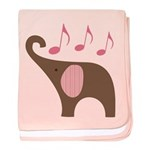 Elephant Music Cute Infant Pink Baby Blanket