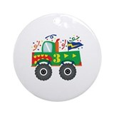 3rd Birthday Monster Truck Ornament (Round)