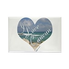 I Love Cancun Heart Rectangle Magnet