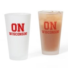 On Wisconsin Drinking Glass