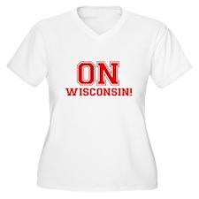 On Wisconsin Women's Plus Size V-Neck T-Shirt
