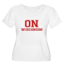 On Wisconsin Women's Plus Size Scoop Neck T-Shirt