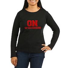 On Wisconsin Women's Long Sleeve Dark T-Shirt