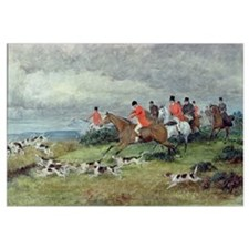Fox Hunting in Surrey, 19th century (watercolour)