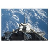 A partial view of Space Shuttle Atlantis backdropp
