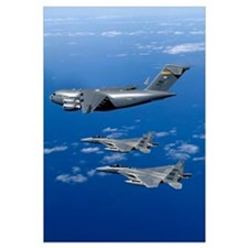 F15B Eagles escort the first Hawaiibased C17 Globe