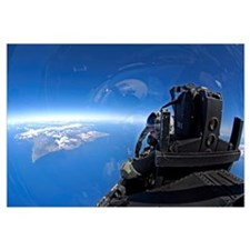 US Air Force captain looks out over the sky in a F