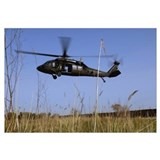 A US Army UH60 Black Hawk helicopter prepares to p