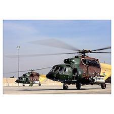 Two Iraqi Mi17 Hip Helicopters conduct an aeromedi