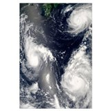 Three different typhoons spinning over the western