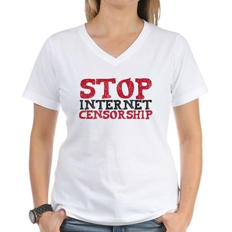 Stop internet censorship Women's V-Neck T-Shirt