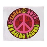 Peace, Love, Nursing School Throw Blanket