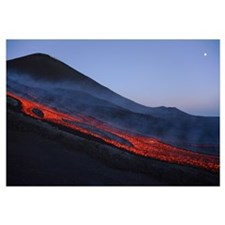Mount Etna lava flow in evening dawn Sicily Italy