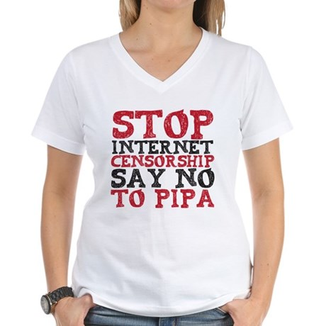 Say No to PIPA Women's V-Neck T-Shirt