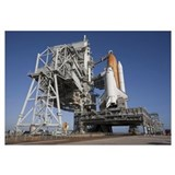 Space shuttle Endeavour atop a mobile launcher pla