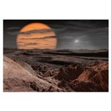 A binary star system consisting of a red giant and