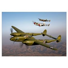 Three Lockheed P 38 Lightnings in flight