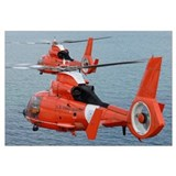 Two Coast Guard HH 65C Dolphin helicopters fly in