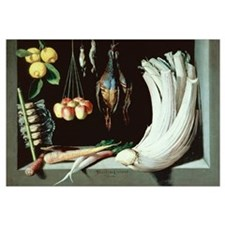 Still life with dead birds, fruit and vegetables,