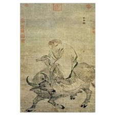 Lao-tzu (c.604-531 BC) riding his ox, Chinese, Min