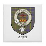 Taylor Clan Crest Tartan Tile Coaster