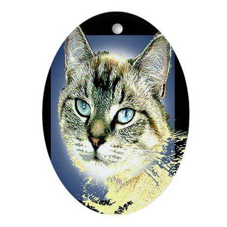 Blue Eyed Kitten Oval Ornament