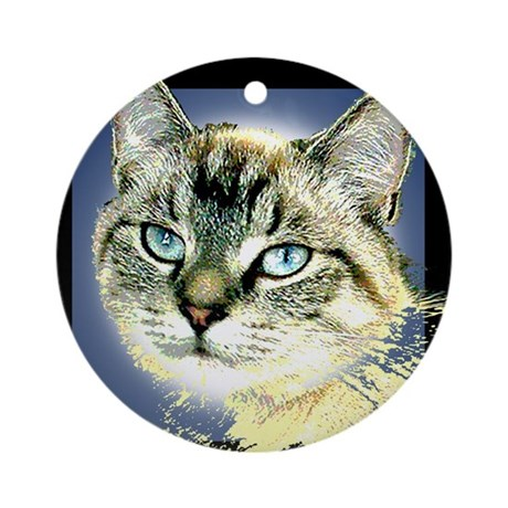 Blue Eyed Kitten Ornament (Round)
