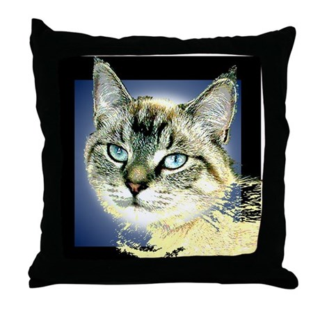 Blue Eyed Kitten Throw Pillow