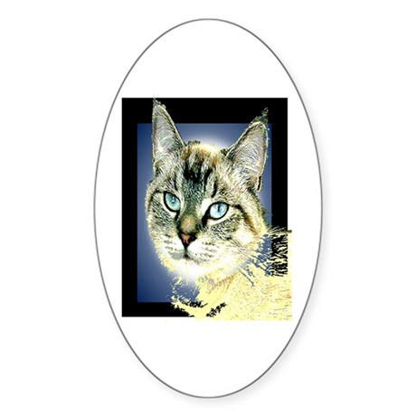 Blue Eyed Kitten Oval Sticker