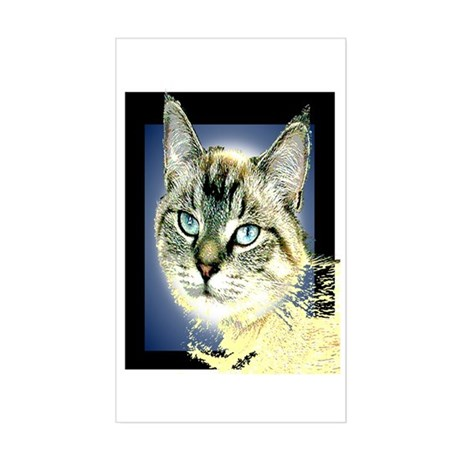 Blue Eyed Kitten Rectangle Sticker
