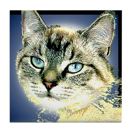Blue Eyed Kitten Tile Coaster