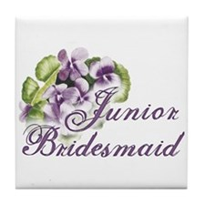 Floral Junior Bridesmaid Tile Coaster