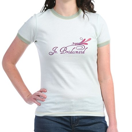 Pink/Purple Deco Jr. Bridesmaid Jr. Ringer T-Shirt