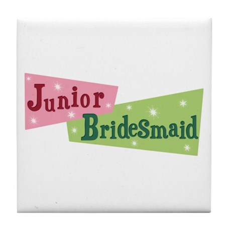 Retro Junior Bridesmaid Tile Coaster