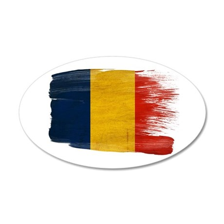 Romania Flag 22x14 Oval Wall Peel