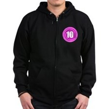 Girls 10th Pink B-day Zip Hoodie