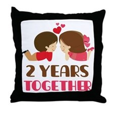 2 Years Together Anniversary Throw Pillow