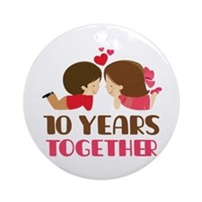 10 Years Together Anniversary Ornament (Round)