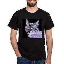 Purple Cat Black T-Shirt