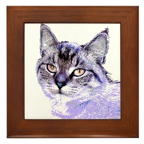 Purple Cat Framed Tile