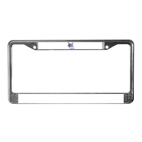 Purple Cat License Plate Frame