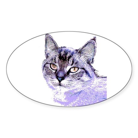 Purple Cat Oval Sticker