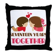17 Years Together Anniversary Throw Pillow