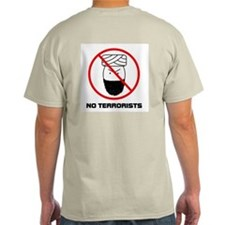 No Terrorists Ash Grey T-Shirt