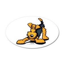 Airedale at Play 22x14 Oval Wall Peel