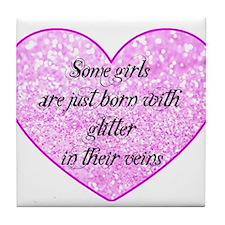 Girl Glitter Tile Coaster